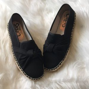 Sam Edelman Circus black bow platform flats shoes